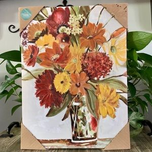 NIB- Gallery wrapped floral art- jewel tones 12x16